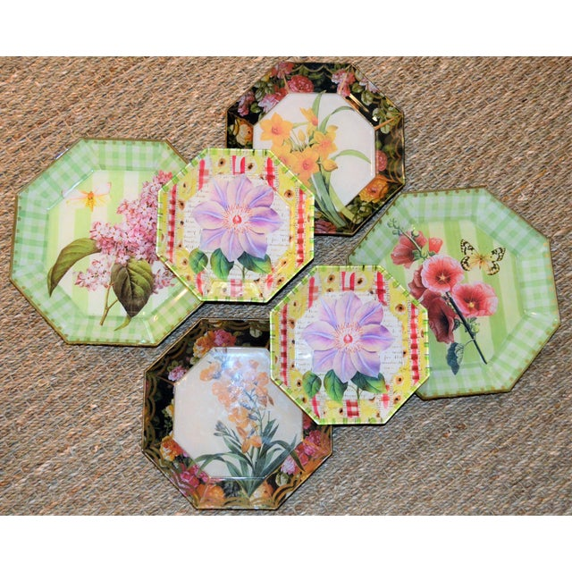 Botanical & Butterfly Decoupage Plates - Set of 6 For Sale In Houston - Image 6 of 10