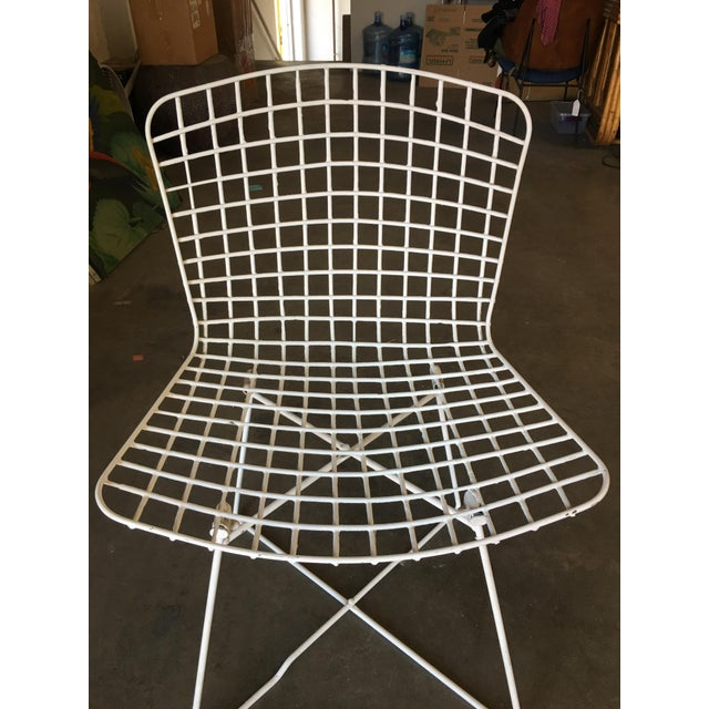"Metal White Bertoia Steel Wire ""X"" Base Side Chairs by Knoll - Set of 6 For Sale - Image 7 of 10"