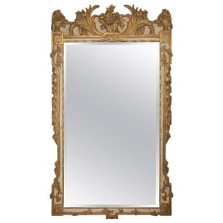20th Century Louis XVI Style Parcel Gilt and Cream Painted Wall Mirror For Sale