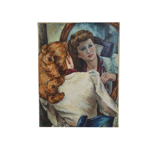 Abstract Portrait Painting of a Woman's Reflection, American 1940's For Sale - Image 3 of 9