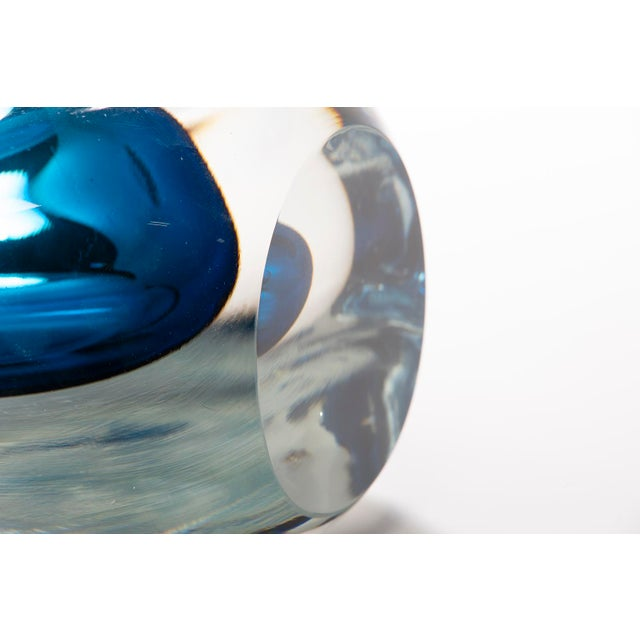 Tall Blue Sommerso Art Glass Vase For Sale - Image 4 of 12