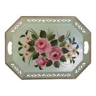 Hand Decorated Light Green Metal Tole Tray With Pink Roses by Pilgram Art