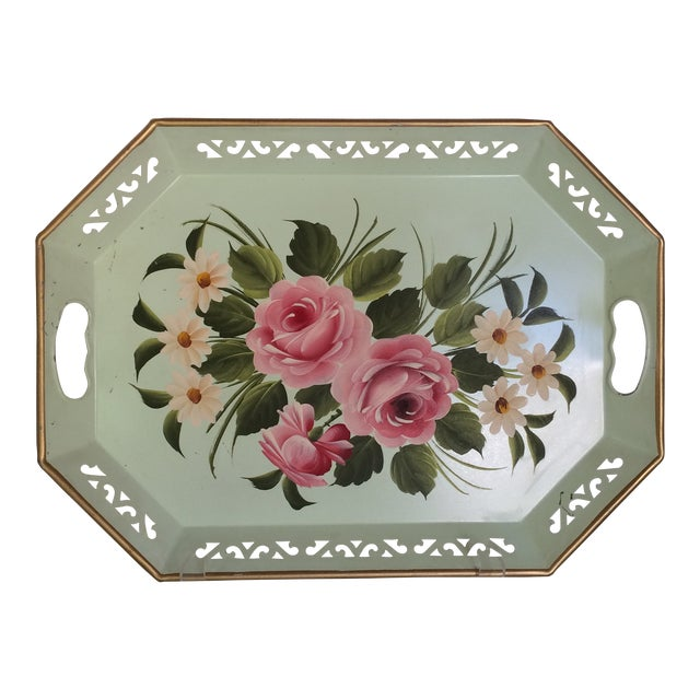Hand Decorated Light Green Metal Tole Tray With Pink Roses by Pilgram Art For Sale