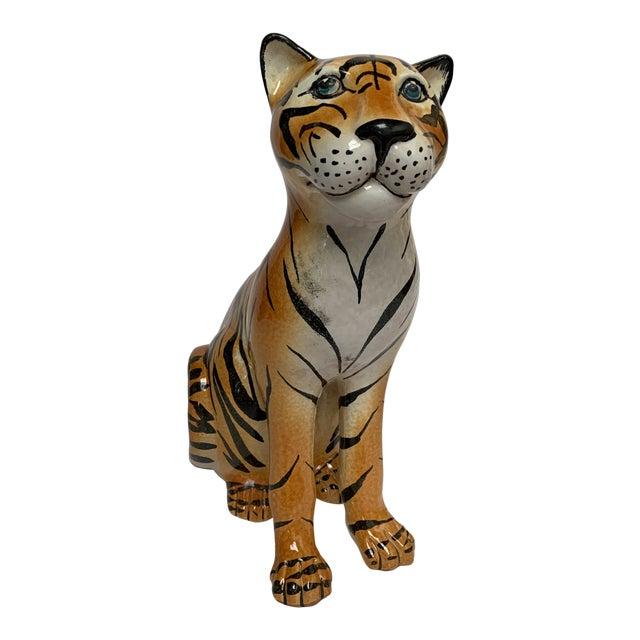 Large Italian Terra Cotta Tiger Figure For Sale
