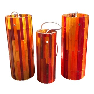 Mid-Century Moe Fiesta Cylinder Pendant Lights - 3 Piece Set For Sale