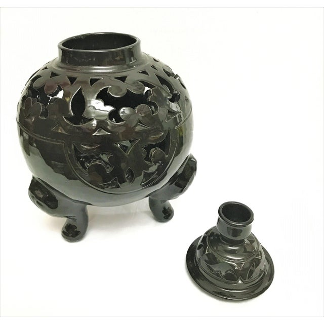 Moroccan Black Handcrafted Ceramic Vase with Lid - Image 3 of 4