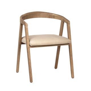 Horseshoe Wood & Linen Chair For Sale