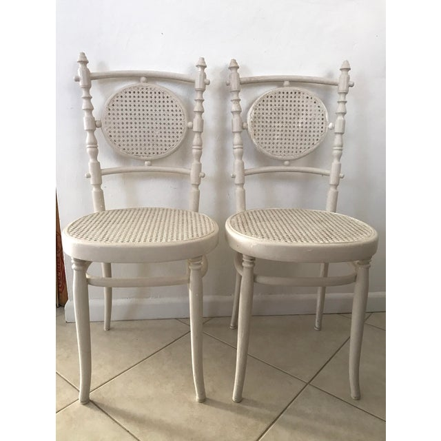 Antique 1913 Fischel Bentwood French Bistro Chairs - a Pair For Sale - Image 11 of 11
