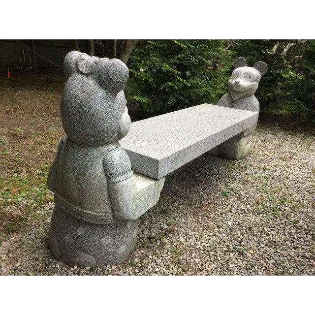 Figurative Mickey Mouse and Minnie Mouse Bench in Carved Solid Granite For Sale - Image 3 of 6