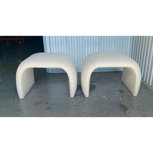 Textile Vintage Contemporary Upholstered Waterfall Benches - a Pair For Sale - Image 7 of 7