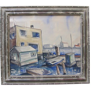 1940s Vintage California Watercolor Painting Harbor Boat Docks Artist For Sale