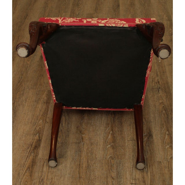Red Georgian Style Custom Quality Carved Mahogany & Upholstered Set 10 Dining Chairs For Sale - Image 8 of 13