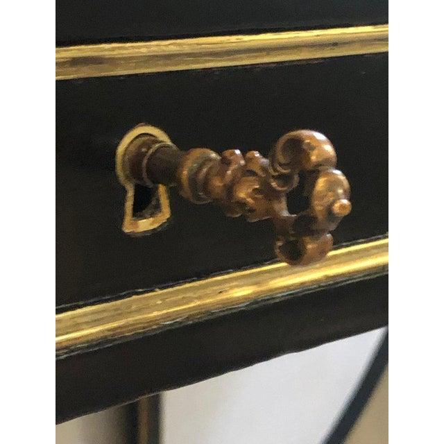 Animal Skin Ebony Jansen Style Hollywood Regency Bronze Mounted Writing Table or Desk For Sale - Image 7 of 13