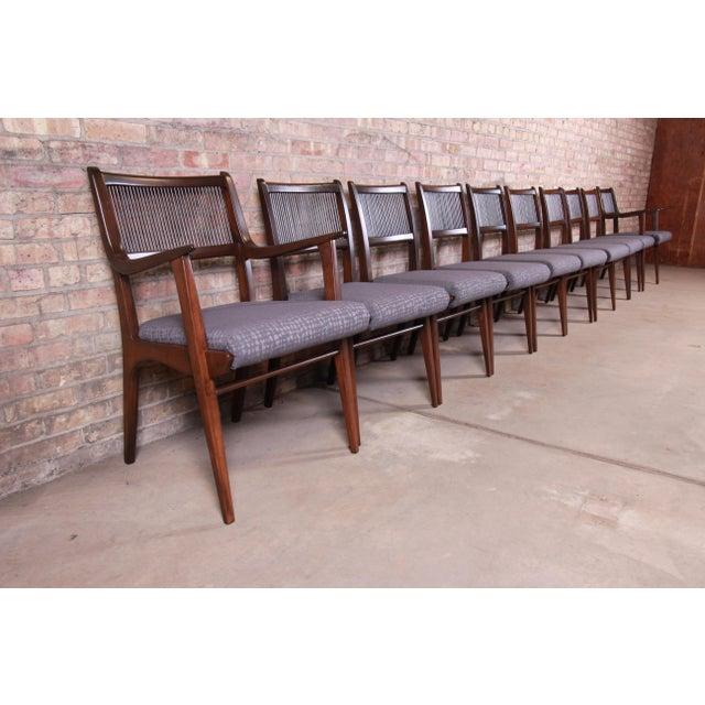 Mid-Century Modern John Van Koert Mid-Century Modern Restored Walnut Dining Chairs, Set of Ten For Sale - Image 3 of 13