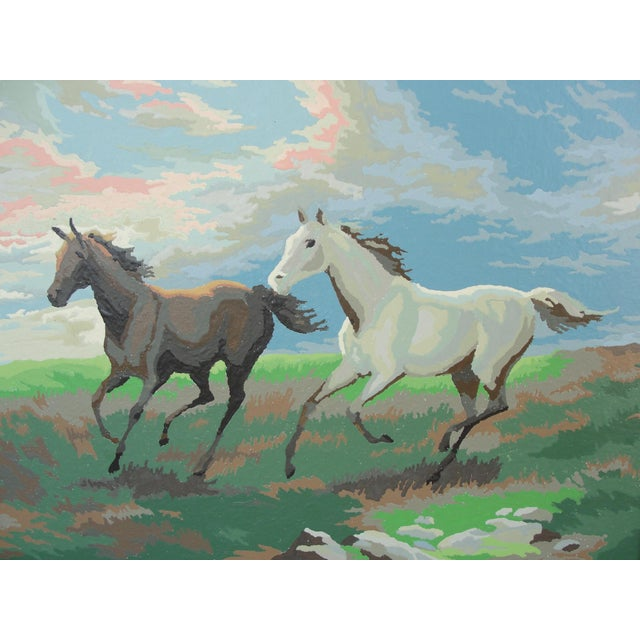 Contemporary Vintage Paint by Numbers 2 Horses Running For Sale - Image 3 of 6