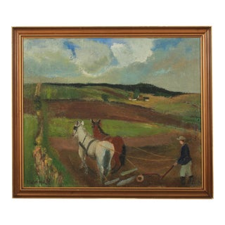 1930s Agricultural Scene by Oda Isbrand For Sale