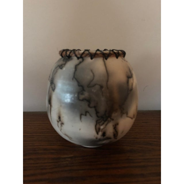 Abstract Horse Hair Pottery With Lacing For Sale - Image 3 of 7