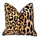 Image of Self Piped Velvet leopard Euro Sham 24x24 For Sale