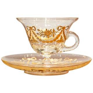 French Glass Cup and Saucer For Sale