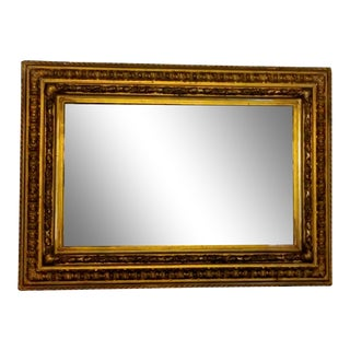 19th Century Empire Style Mirror With Gold Leaf Frame For Sale