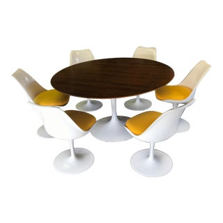 "Eero Saarinen 54"" Walnut Dining Tulip Table & Chairs For Sale"