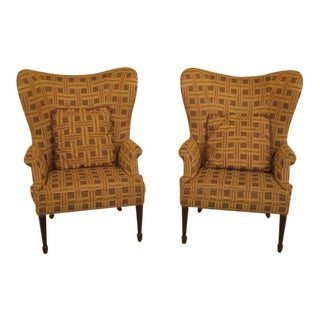 Barrel Back Upholstered Wing Chairs - a Pair