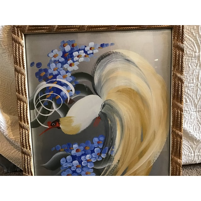 Vintage 20th Century Egret Crane Bird Metallic Art Paintings Signed - a Pair, Framed For Sale In Cleveland - Image 6 of 9