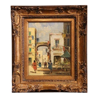 Early 20th Century Italian Street Scene Painting in Gilt Frame Signed Petrilli Circa 1920 For Sale