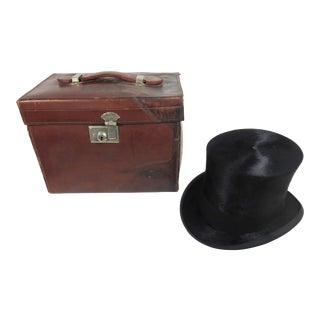 Antique Gentlemans Top Hat & Leather Travel Case For Sale