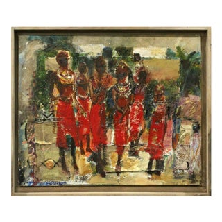 Billy Soza Aka Billy War Soldier African Women in Red Painting For Sale