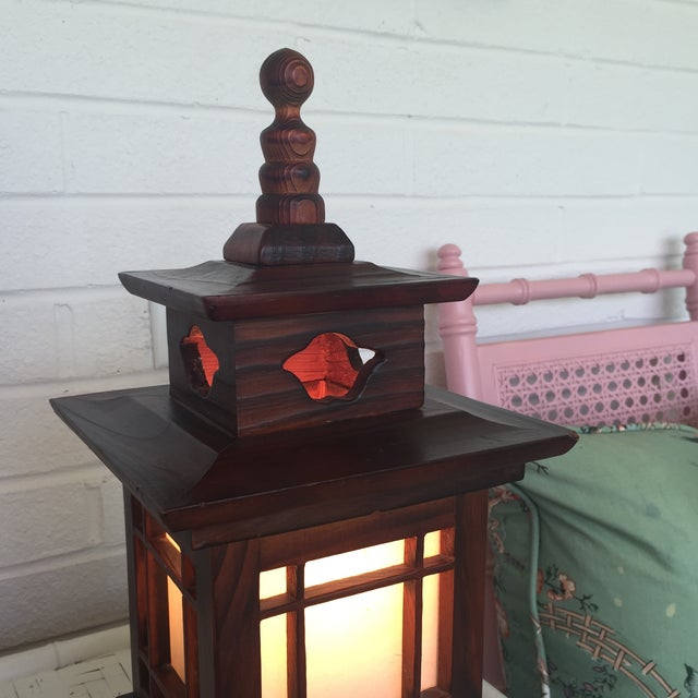 Brown Antique Carved Wood Asian Chinoiserie Pagoda Lantern Light Lamp For Sale - Image 8 of 11