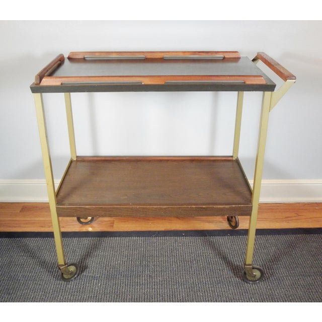 Mid-Century Wood Tray Bar Cart - Image 3 of 5
