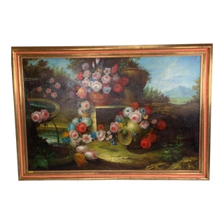 1950s Vintage Italian Garden of Flowers Painting For Sale
