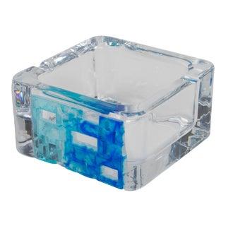 Daum France Crystal Blue Pate De Verre Cigar Ashtray Bowl Catchall For Sale