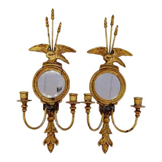 Federal Gilded Candle Sconces With Mirrors - a Pair For Sale