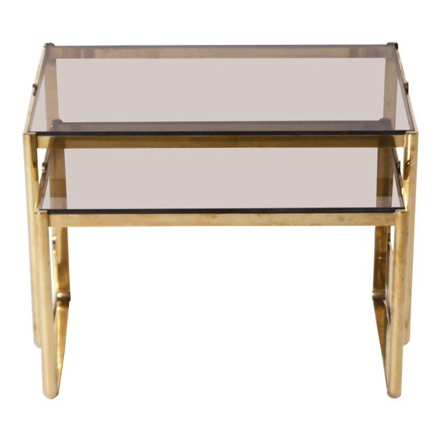 Bronze Nesting Tables by Jacques Quinet C. 1960 - Set of 2 For Sale