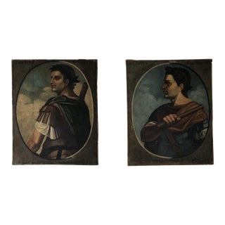 Pair of Roman Emperor Paintings For Sale