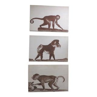 Silkscreen on Linen Panel of Monkeys - Set of 3 For Sale