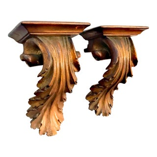 1940s Vintage Scrolled Acanthus Wall Hanging Brackets - a Pair For Sale