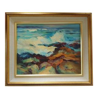 Original Seascape Painting 'Monterey Surf' by Frances Byers For Sale