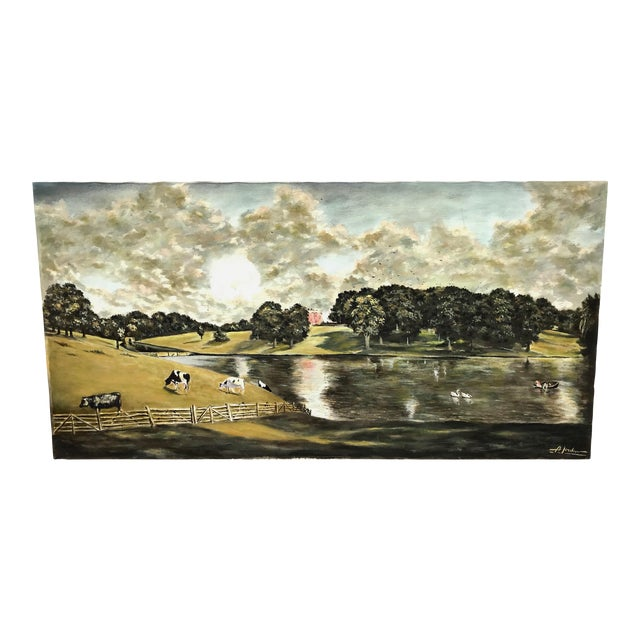 1940s Vintage English Country Scene Painting For Sale