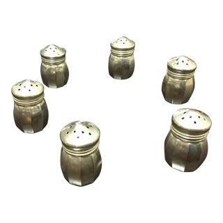 1960s Antique Sterling Silver Salt Shakers - Set of 6 For Sale