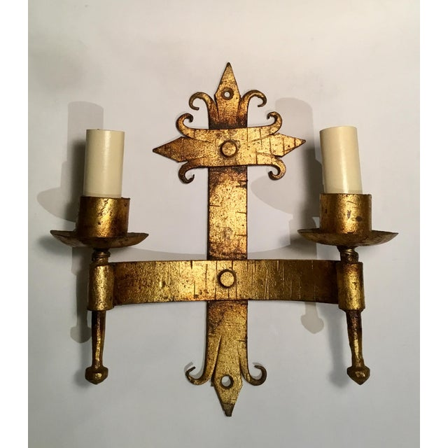 French Country Late 19th / Early 20th C. French Wired Double Light Wall Sconces - a Pair For Sale - Image 3 of 11