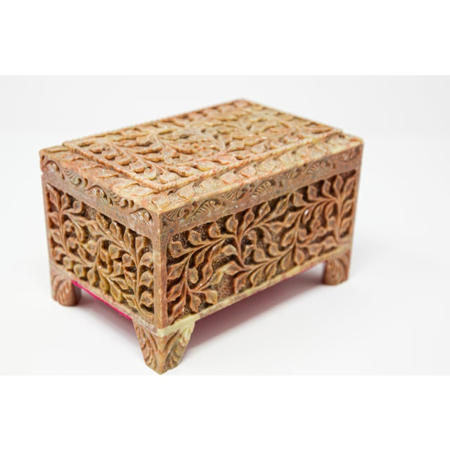 Hand-Carved Stone Jewelry Box Rajasthan, India For Sale - Image 9 of 13