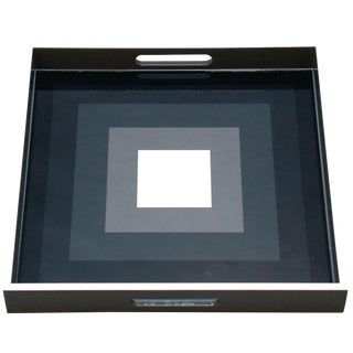 Contemporary Lacquered Wood Tray With Geometric Black Gray and White Squares For Sale