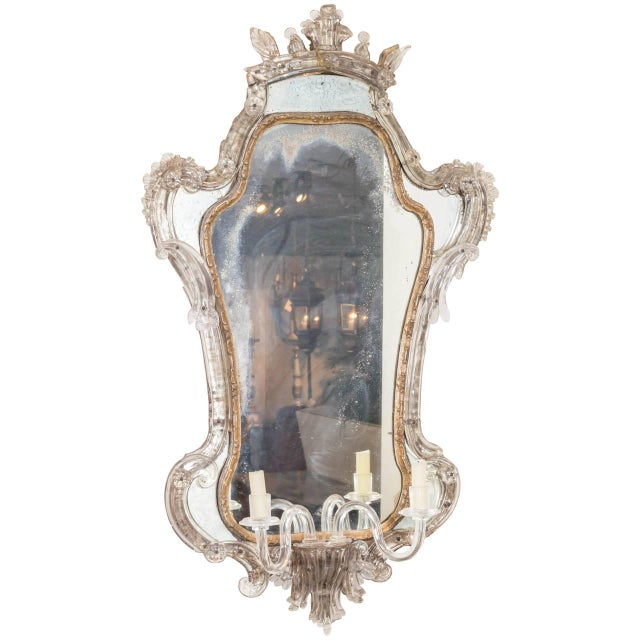 Blown Glass 18th Century Venetian Glass Mirror With Blown Glass Sconce For Sale - Image 7 of 7