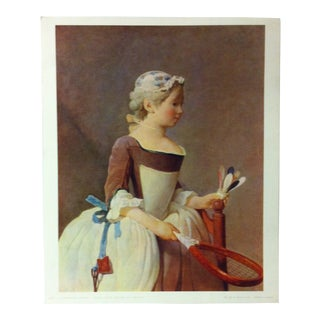 """French Color Print on Paper, """"Jeune Fille a L' Etude"""" by Jean Honore' Fragonard - 1966 For Sale"""