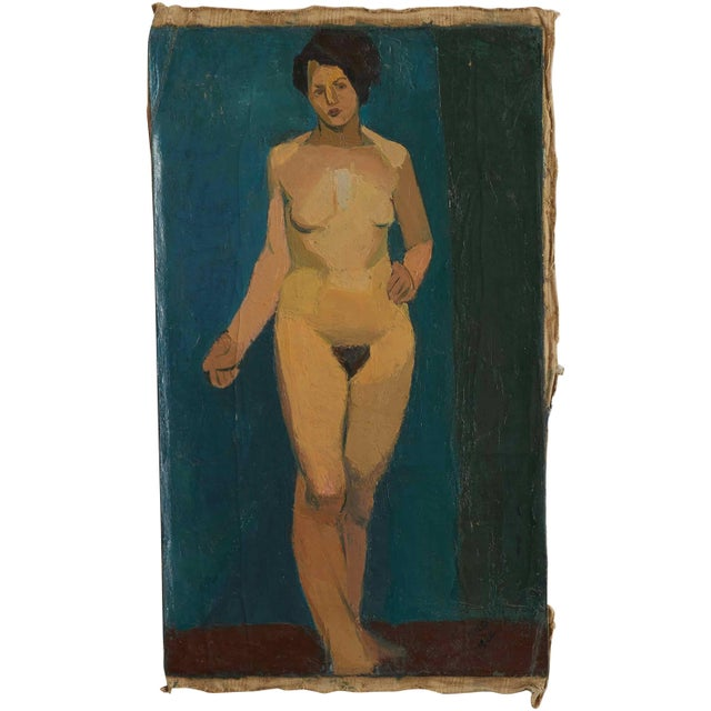 1910s Early 20th Century Oil Painting of Nude Female on Blue Background For Sale - Image 5 of 5