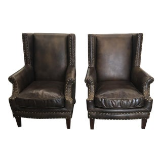 Mid Century Modern Style Leather Brown Leather Club Chairs - a Pair