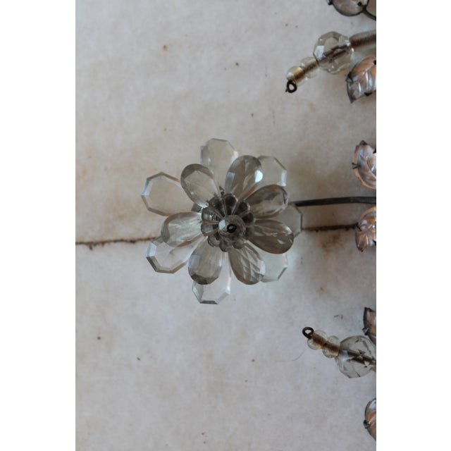 Bronze C1845 Maison Bagues Museum Quality Huge Crystal Floral Sconces/ Wall Lamps-Signed in Bronze - a Pair For Sale - Image 8 of 12